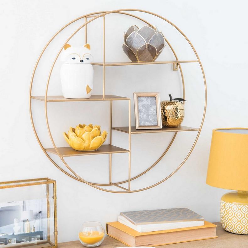 collalily Iron on wall decorative storage holders racks book shelves living room kitchen bathroom rails etagère murale ronde dorée