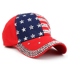 Womens Rhinestone US Flag Baseball Cap
