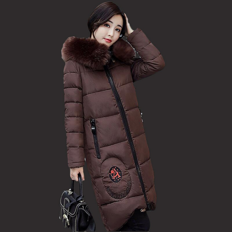 Female jacket new women winter jacket 2017parkas thick in the long section of the big fashion collar coat large size coat female 2017 new winter women winter women in the long section of thick cotton coat fur collar jacket cold winter jacket size m xxl