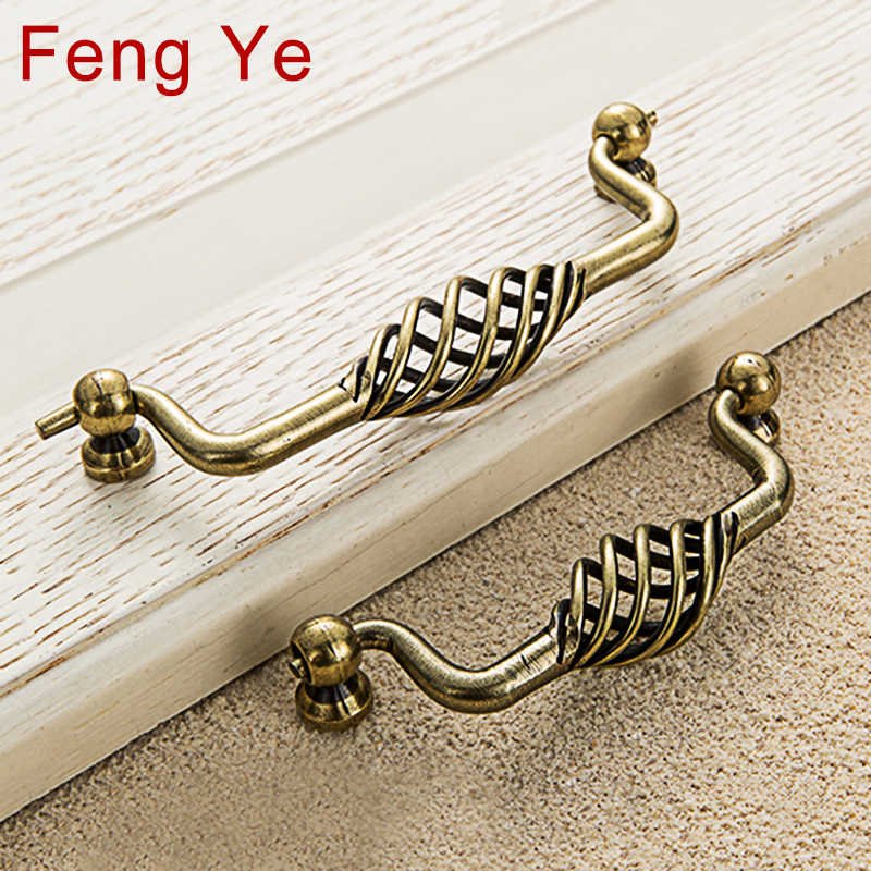 Feng Ye Bird Nest Handle Black Door Knob Vintage Antique Bronze Cabinet Knobs And Handles Furniture Drawer Cupboard Closet Pulls