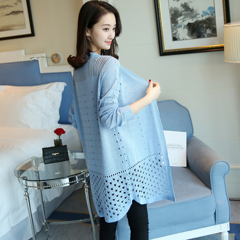 956f2317543 2017 New Casual knitted cardigan Free Shipping Light Blue Cardigan Thin  sweater Women Summer women Pink Cardigan sweater-in Cardigans from Women s  Clothing ...
