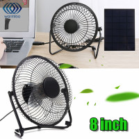 USB 5W Iron Fan 8Inch Cooling Ventilation Car Cooling Fan+ Black Solar Panel Powered for Outdoor Traveling Fishing Home Office