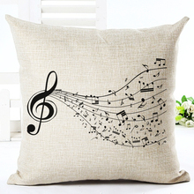 High Quality Fashion Style Cotton Linen Cushion Music Score Print Home Decor Cushion Bed Car Throw