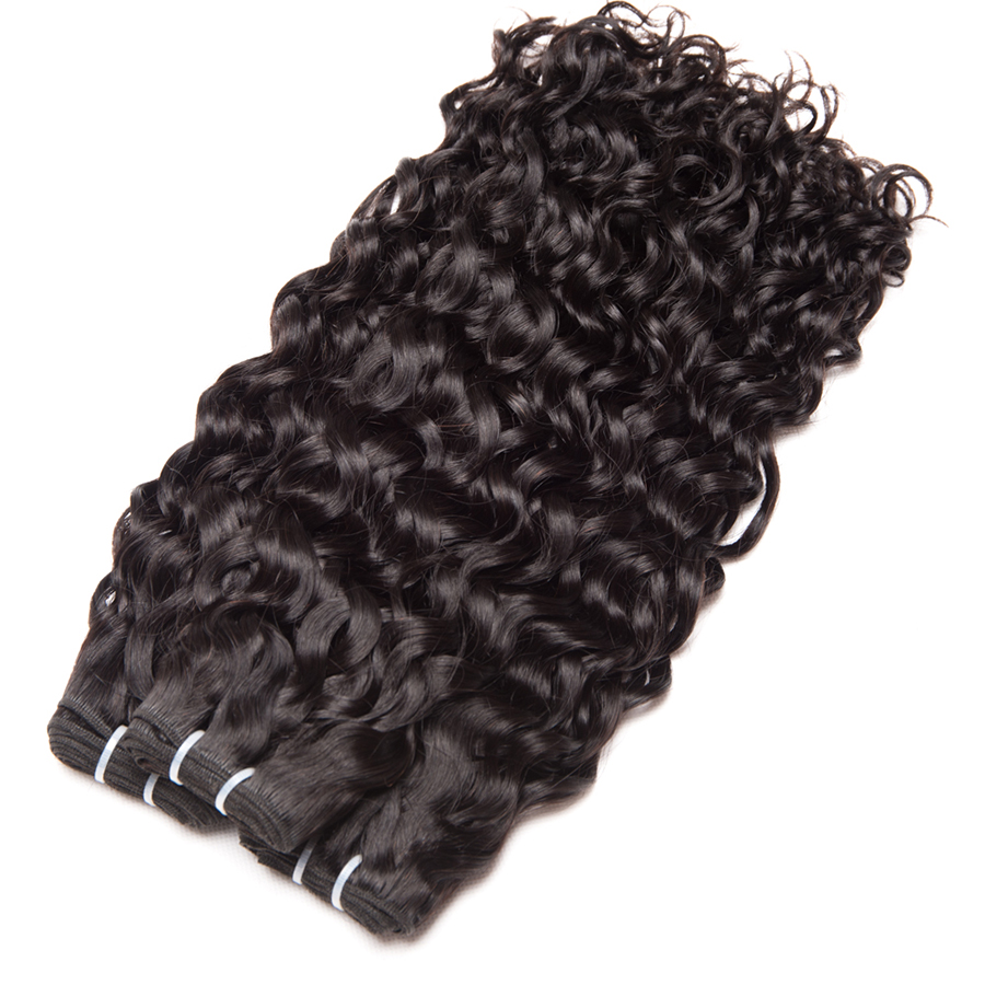 Alipop Hair Water Wave Bundles Indian Hair Weave 3 Bundles With Closure Remy 100% Human Hair With Lace Closure Keep Curls well