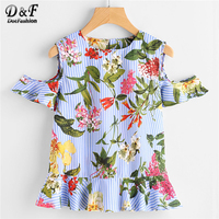 Dotfashion Open Shoulder Frill Hem Botanical Print Blouse 2018 Woman Summer Round Neck Striped Top Floral