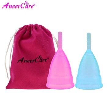 2pcs(S+L) Silicon cup copa lady menstrual cup feminine hygiene vagina care copa menstrual de silicona medica menstruation cup