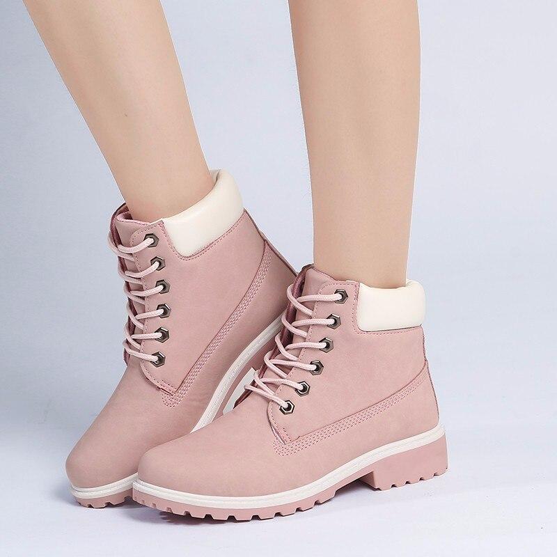 Модные мотоботы женские ботинки, Сапоги унисекс ботильоны из PU искусственной кожи квадратный каблук Мартинсы женские осенние и зимние сапо...
