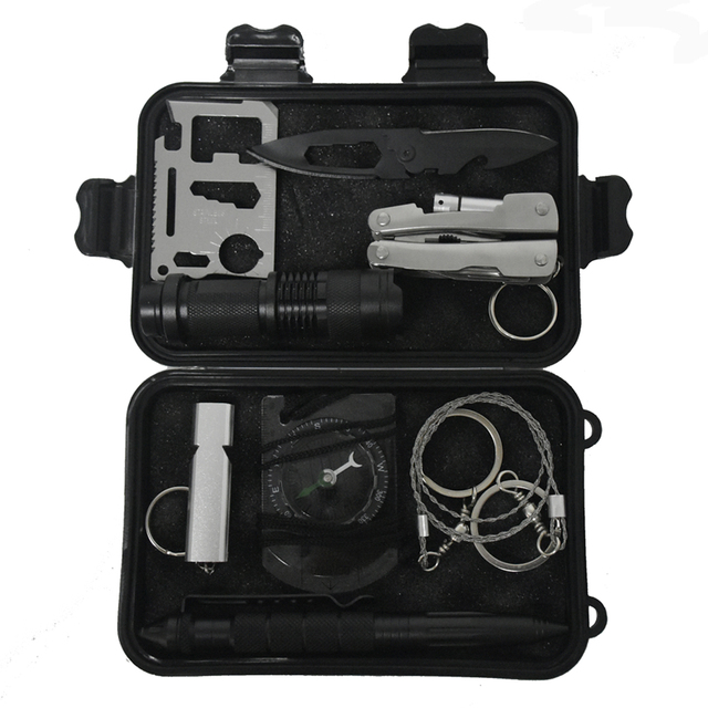 10 In 1 Outdoor Survival Emergency Bag Field Sos Kit Box Self Help