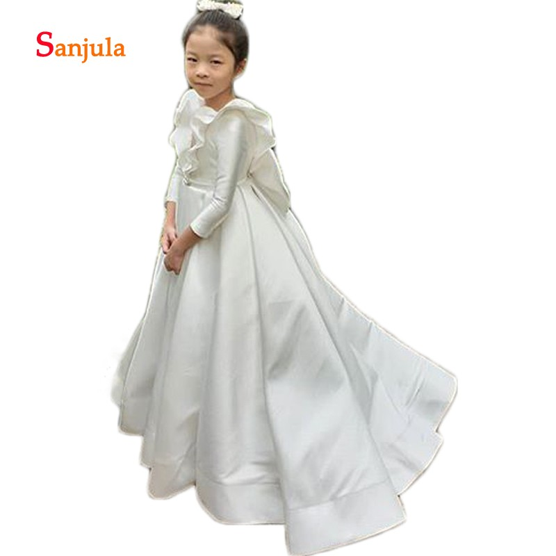 Backless Ivory Satin   Flower     Girls     Dresses   Long Sleeve A-Line Charming First Communion   Dress   Back Bow robe mariage fille D391