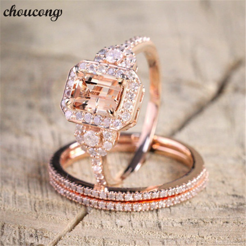 Choucong Handmade 3-in-1 Ring Set AAA Zircon Cz Rose Gold Filled Engagement Wedding Band Rings For Women Men Fashion Jewelry