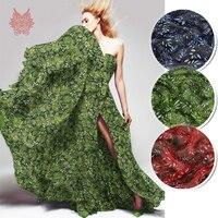 Designer groen blauw rood plant bladeren print 100% pure zijde chiffon stof voor jurk doek tela tejido 6mm SP4085 GRATIS VERZENDING