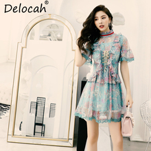 Delocah New 2019 Women Spring Summer Dress Runway Fashion Designer Flare Sleeve Ruffled Gorgeous Lace Mesh Bow Elegant Dresses цена