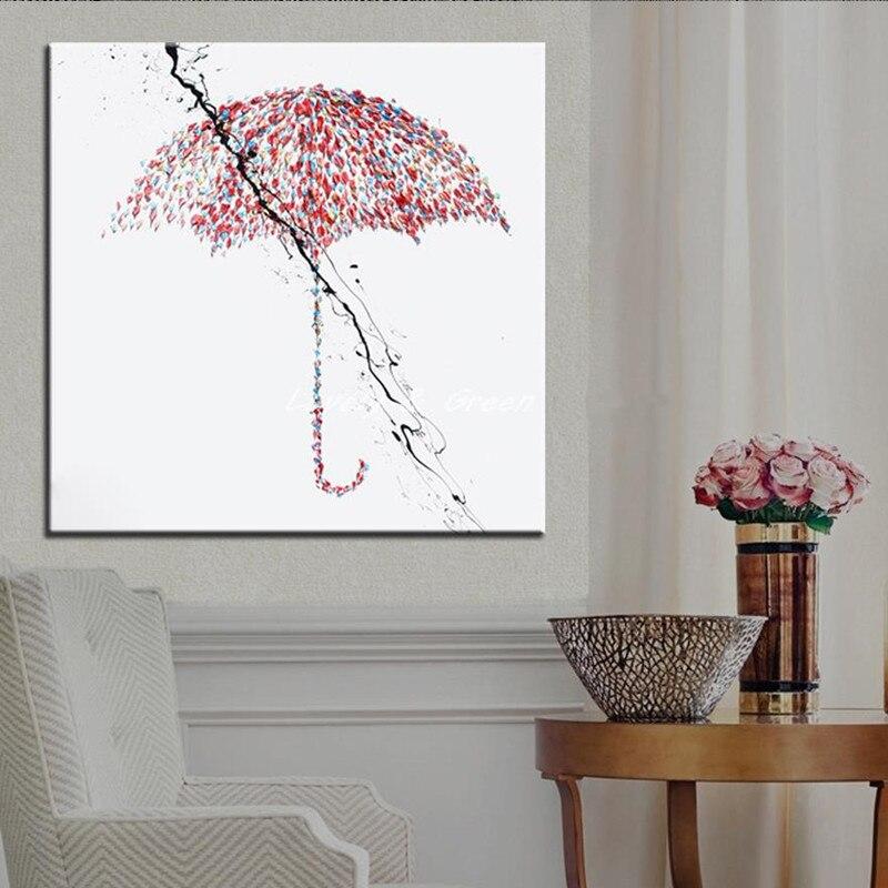 Moderne Home Decor Wall Art Peint À La Main Abstraite Peintures À L'huile sur Toile Grand Couteau Rouge Parapluie Photos Peinture À La Main Cadeau