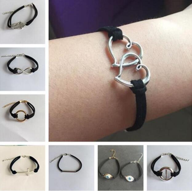 78010ea250e5 1 ppiezas pulseras de encanto de cuero ancla cadena negra triángulos  geométricos cruz en forma de