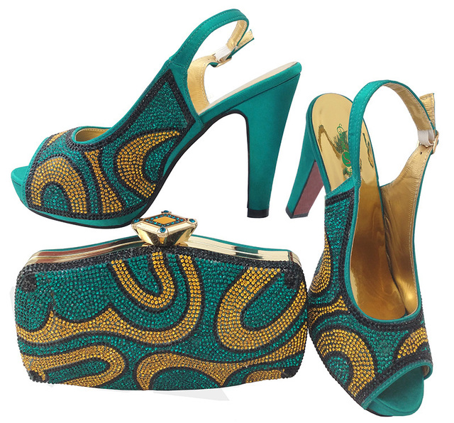 7e5a40514f US $68.75 25% OFF High heel 4.7 inches sandal shoes with matching clutches  bag italian shoes bag teal green color fashion 2018 design SB8103 5-in ...