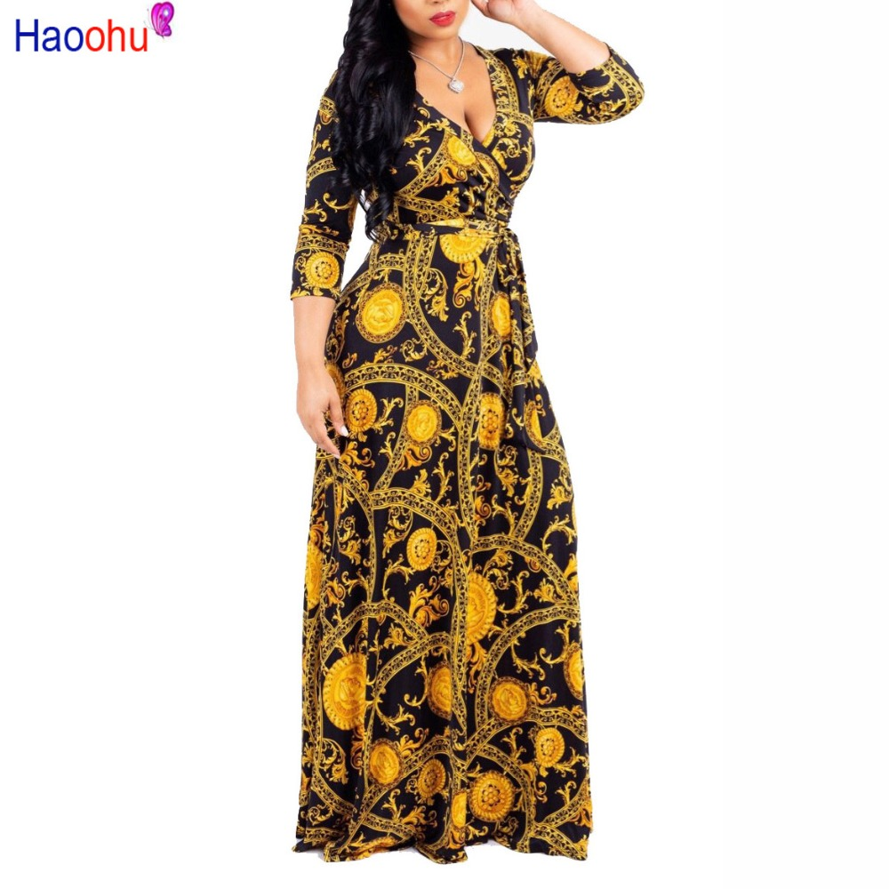 7832c5d8e07d9 Adogirl Trendy Striped Chain Print Women Maxi Dress Sexy Deep V Neck ...