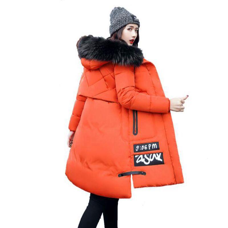 купить winter cotton quilted long jacket  2017 women's big fur collar with a hood thickening warm winter coat narrow female parks дешево