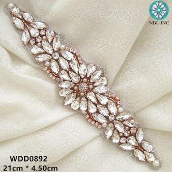 (30pcs) Wholesale hand beaded bridal silver crystal rhinestone appliques for wedding dresses sash WDD0892