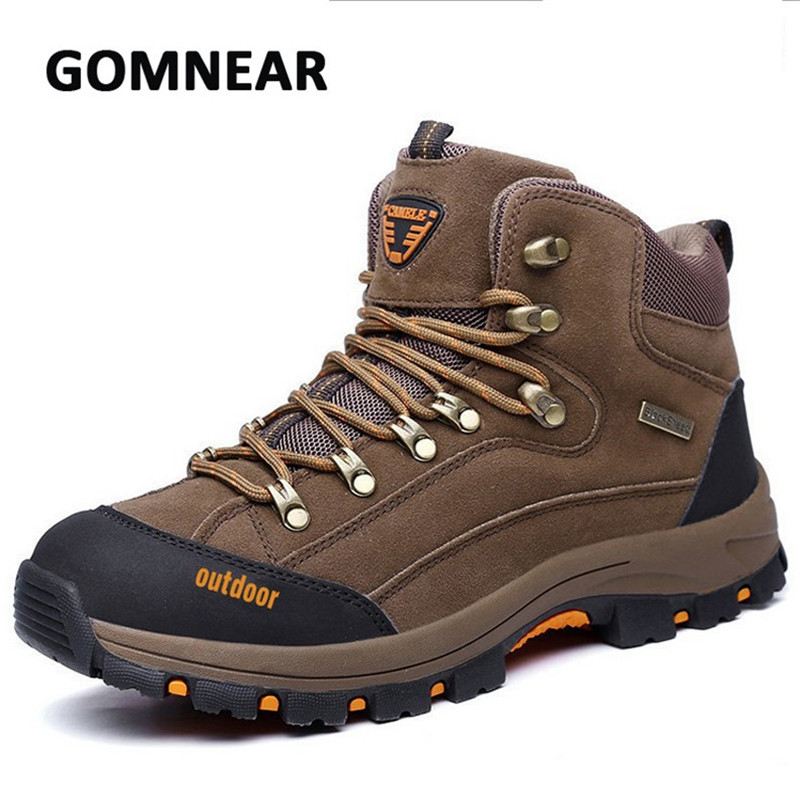 GOMNEAR New Hiking Boots Breathable Non-slip High Cut Leather Shoes Outdoor Mountain Climbing Trekking Traveling Shoes yin qi shi man winter outdoor shoes hiking camping trip high top hiking boots cow leather durable female plush warm outdoor boot