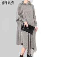 SuperAen Europe Irregular Loose Turtleneck Knit Dress Women Solid Color Casual Fashion Ladies Dress New Autumn 2018 Dress Female