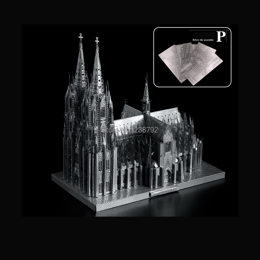 3D Metal Puzzle The Cologne Cathedral Building Model Kits DIY Miniature   3D Laser Cut Assemble Jigsaw Toys For Kids And Adult