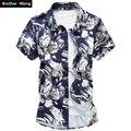 2017 Tamanho Grande Camisa dos homens Verão Fina Trecho Impressão Ocasional Camisa Marca Masculina Mercerizado do Algodão Slim Fit Camisa 6XL 7XL