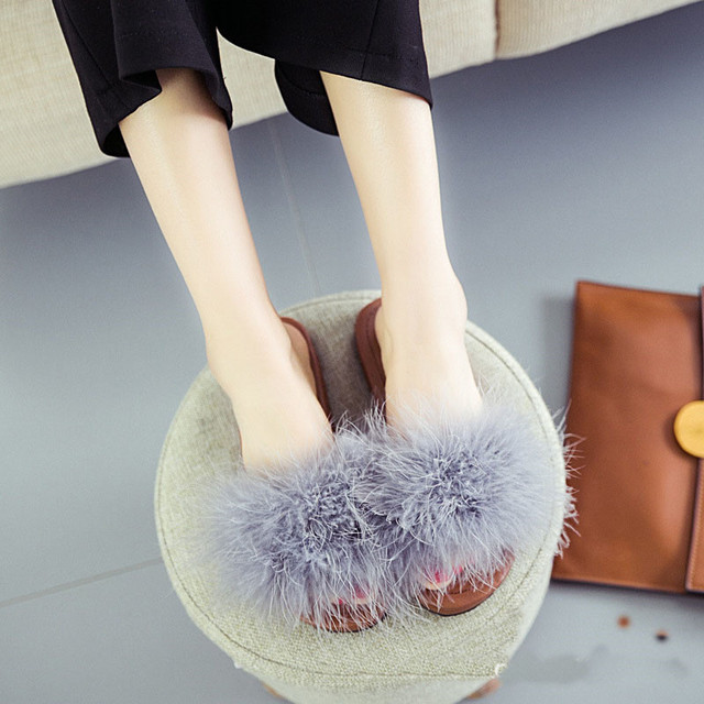 754039ca7d1 Big Size 35-40 Hot Women Plush Women s Fashion Spring Summer Fall Faux Fur  Slip Flip Flops Low Shoes