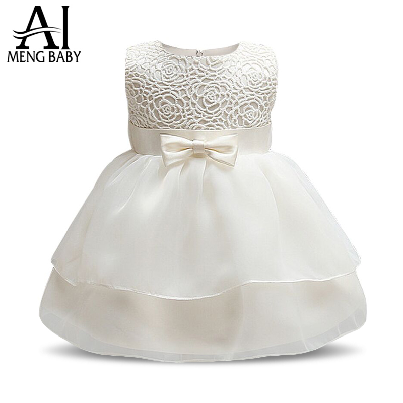 Ai Meng Baby Toddler Girl Baptism Clothes Girl Newborn Infant Lace Christening Gown Party Dress For Girl 1st 2nd Birthday Outfit