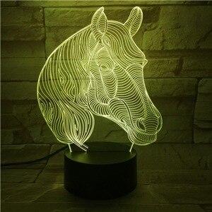 Image 2 - Lámpara LED 3D con cabeza de caballo, Animal creativo, regalo, lámpara de Noche de Ambiente, Luminaria Multicolor, mesa de escritorio, Chico, juguete, Gadget, decoración para el hogar