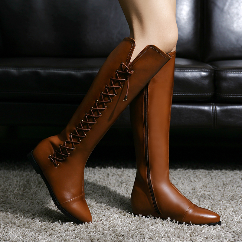 ФОТО 2016 Autumn Winter Knee High Boots Great PU Leather Lace-up Knight Boots Brand Designer Gradient Color Flats Long Boots Women