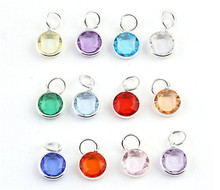 Vinnie Design Jewelry 12mm Birthstone Beads Dangle Floating Charms for Pendant Locket Necklace 12pcs/lot(China)