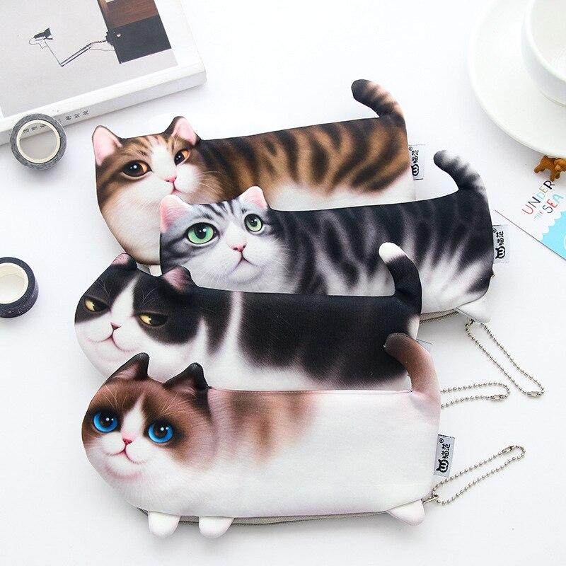2018 החדש Kawaii כתיבה ספר בד רך סימולציה חידוש Cartoon חתול קלמר תלמיד עט מתנת תיק לילדה בוי