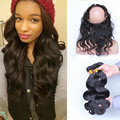 360 Кружева Девственные Волосы Пучки Объемная Волна Индийский Девы волос С Закрытием 360 Кружева Фронтальная Закрытие С Пучками Отбеленные узлы