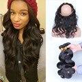 360 Do Laço Do Cabelo Virgem Com Feixes Onda Do Corpo Indiano Virgem cabelo Com Fechamento 360 Lace Frontal Encerramento Com Bundles Branqueada nós