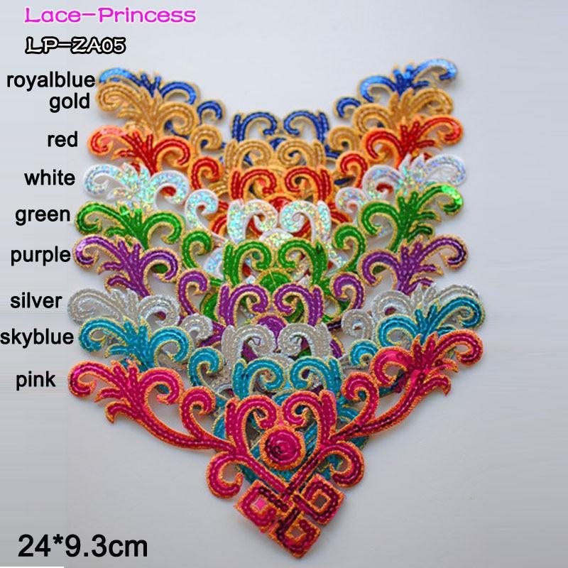8 PCS 24X9.3CM colorful sequins lace fabric flower applique patch embroidered flowers clothes diy accessories ZA05