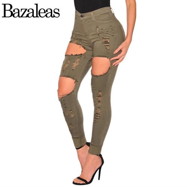 Women summer ripped jeans vintage green knee holes high waist pants bazaleas cotton thin jean