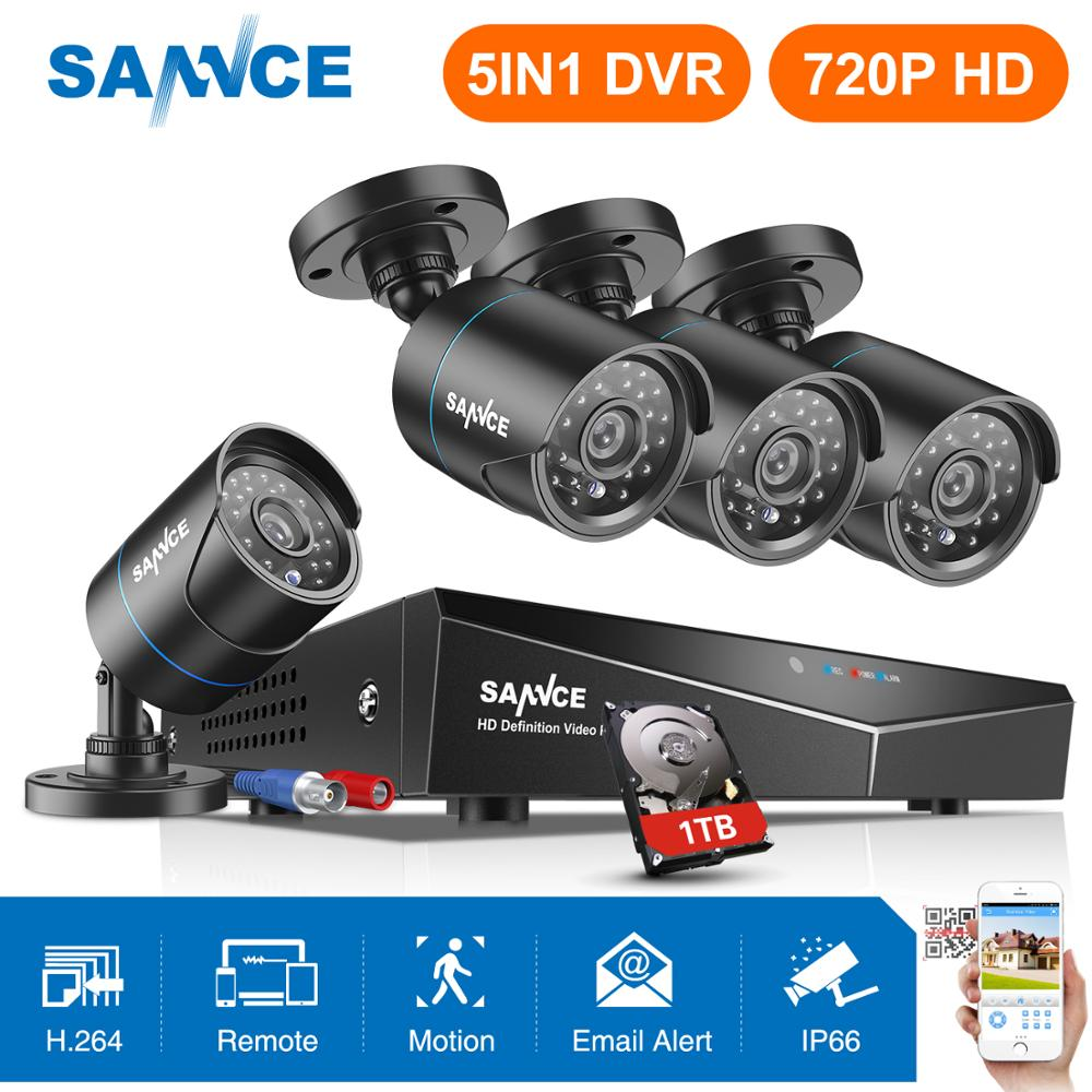 SANNCE 720P CCTV System 4CH Video Surveillance Kit for Home 1080P HDMI DVR 4PCS 1280TVL 720P