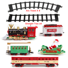 Christmas Decoration Railway Train with Sound/Light/Santa Claus  Classic Toys Track 147*87cm Electric toys for Children