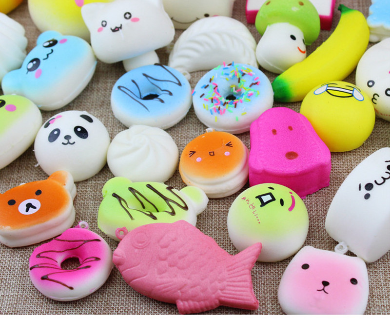 Wholesale MUQGEW 5pcs Medium Hamburger Mini Soft Squishy Bread Toys Key Squishy Toy Slow Rising Novelty &Gag Toys