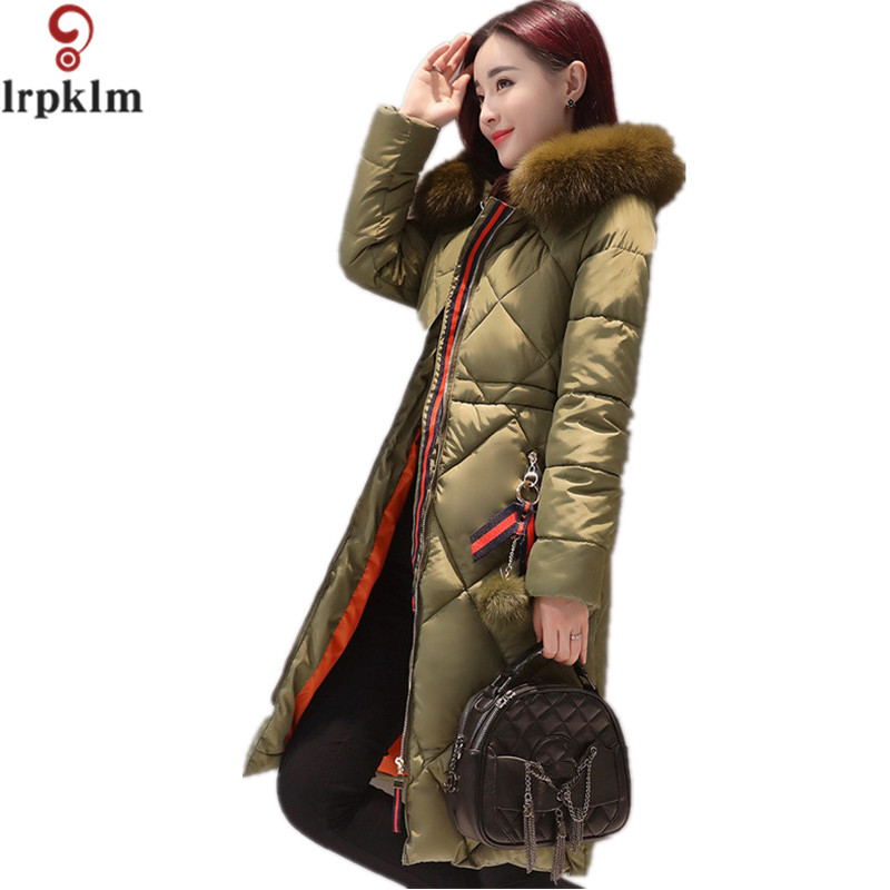 Hot Sale Fur Hooded Winter Jacket Women 2017 Coat Long Parka Cotton-padded Coats Wadded Jackets Plus Size XXXL LZ194 winter jacket women 2017 new winter coat women long parka luxury fur cotton padded coat women wadded jackets plus size 3xl