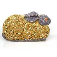 Vrouw merk mode 2016 nieuwe Leuke noble diamond kleurrijke konijn karakter Diner Zak vintage handtas dame avondjurk tas Q24