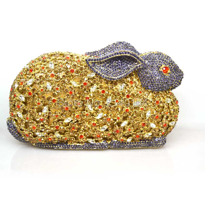 woman brand fashion 2016 new Cute noble diamond colorful rabbit Character Dinner Bag vintage hand bag lady dress evening bag Q24