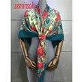 Bufanda de seda de Las Mujeres de Moda Diseñador de la Marca Bufandas Mantones Casual Imprimir Foulard Femme de Lujo 120*120 cm Hijab Pañuelo Suave Pashmina