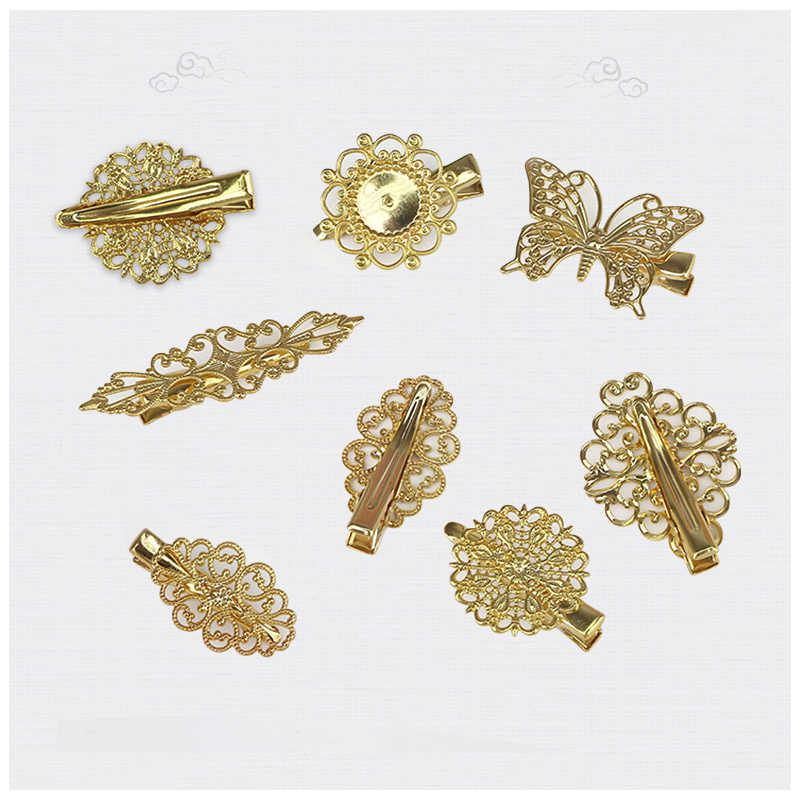 1 PC Vintage Women Bride Butterfly Leaves Metal Hollow Gold Hair Clip Barrette Hairpins for DIY Fashion Cosplay Jewelry Findings