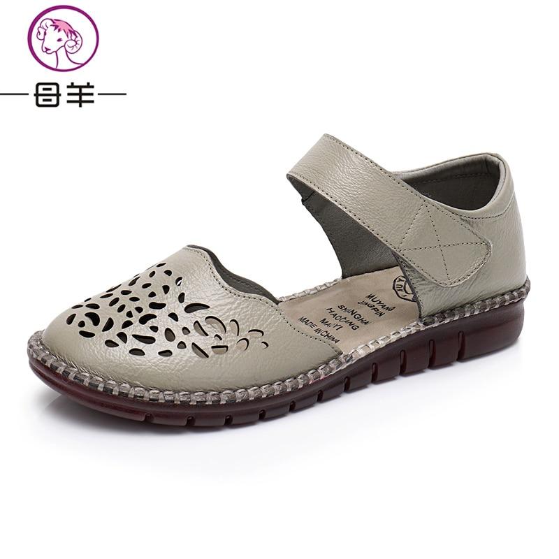 MUYANG Sommer Schuhe Frau Echtem Leder Flache Sandalen Casual Bequeme - Damenschuhe