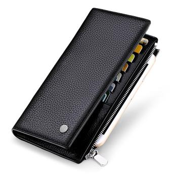 WILLIAMPOLO Brand Men Wallet Genuine Leather Long Clutch Phone Purse Coin Pocket Men Card Holder Litchi Grain Black Clip Wallet