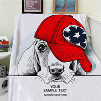 Blankets Cobertor Warmth Soft Plush Art Design Cute Dog Wearing Red Hat Animal Sofa Bed Throw