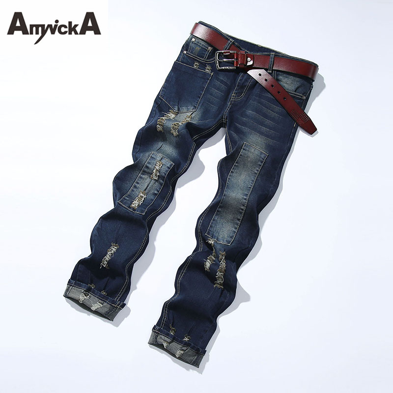 AmynickA Patch Ripped Jeans For Men Mid Waist Straight Hole Denim Jeans Male Boys Washed Casual Jeans Blue Size 27-36 RWY806 denim overalls male suspenders front pockets men s ripped jeans casual hole blue bib jeans boyfriend jeans jumpsuit or04