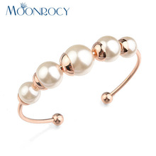 Free Shipping Austrian Crystal Imitation Pearl Bracelet Open Bangle Fashion Jewelry Rose Gold Color for Women Gift