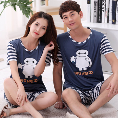 Short-sleeved Summer Pyjama Loose Men Style Couple Pijama   Set   Sleepwear Top+ Pants Young Lovers   Pajamas     Sets   Women Nightwear